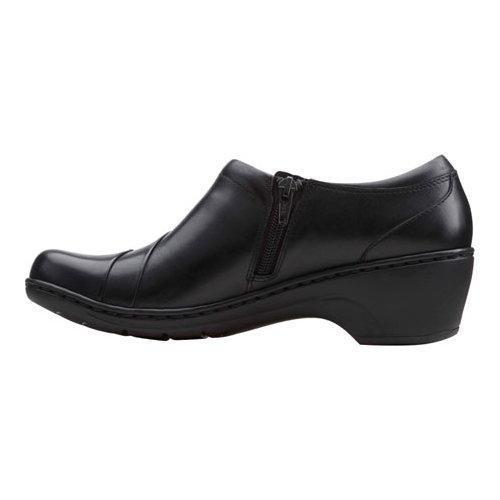 CLARKS Women's Channing Ann Slip-On Loafer, Black Leather, 7.5 M US