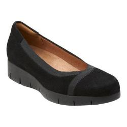 Women's Clarks Daelyn Hill Wedge Heel Black Goat Suede/Textile