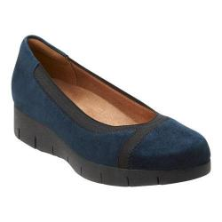 Women's Clarks Daelyn Hill Wedge Heel Navy Goat Suede/Textile