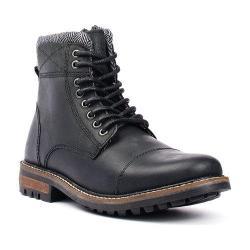 Men's Crevo Camden Black Leather/Herringbone