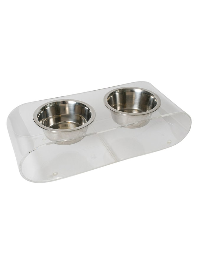 Pet Lounge Studios Clear Acrylic/Stainless Steel Curved Diner Pet Bowl Set