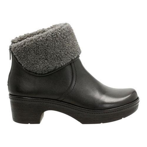 Clarks Preslet Pierce Women/'s Black Suede Boots Fur 26120940