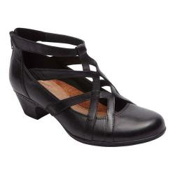 Women's Cobb Hill Adrina Cross-Strap Low Heel Black Leather - Thumbnail 0