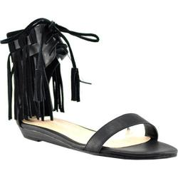 Women's Volatile Aubrey Fringed Ankle Cuff Sandal Black Faux Leather