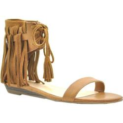Women's Volatile Aubrey Fringed Ankle Cuff Sandal Tan Faux Leather