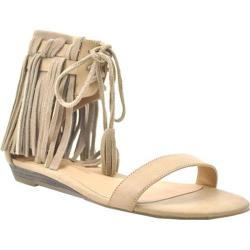 Women's Volatile Aubrey Fringed Ankle Cuff Sandal Taupe Faux Leather
