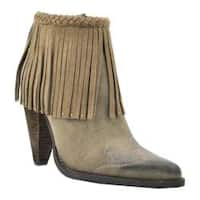 Women's Volatile Shakee Fringed Bootie Taupe Faux Leather