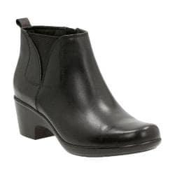 Women's Clarks Malia Charter Bootie Black Cow Full Grain Leather