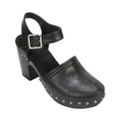 Women's White Mountain Wanda Ankle Strap Block Heel Black Tumbled Smooth