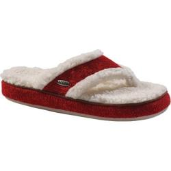 Women's Acorn Acorn Thong Ragg Slipper Red Ragg Wool