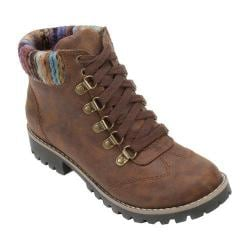 Women's Cliffs by White Mountain Portsmouth Trail Sweater Knit Hiker Boot Cognac/Multi Fabric/Textile/Sweater