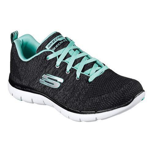 2a8c5289e6136 Shop Women s Skechers Flex Appeal 2.0 High Energy Training Shoe Black Aqua  - Free Shipping Today - Overstock - 12336590