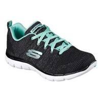 Women's Skechers Flex Appeal 2.0 High Energy Training Shoe Black/Aqua