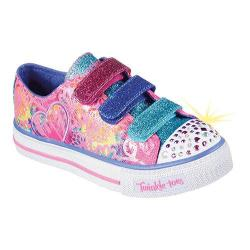 Girls' Skechers Twinkle Toes Shuffles Sweet Spirit Sneaker Hot Pink/Multi