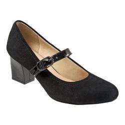 Women's Trotters Candice Mary Jane Black Suede/Patent