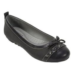 Women's Cliffs by White Mountain Brentwood Ballerina Slip On Black Burnished Smooth/Textile/Suede