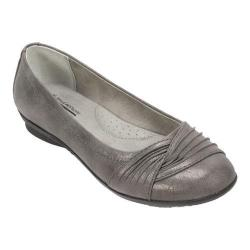 Women's Cliffs by White Mountain Hilt Ballet Flat Pewter Glitter Suede Fabric