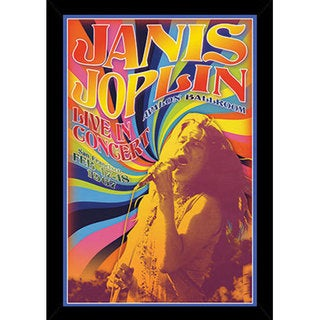 Janis Joplin 24-inch x 36-inch Print with Black Contemporary Poster Frame