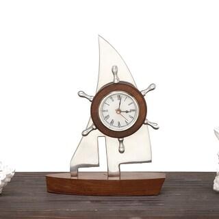 Urban Designs Multicolor Aluminum and Wood Tabletop Sailing Boat Clock Nautical Decor