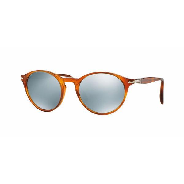 9aa6a100c8 Persol PO3092SM-904130 Round Light Green Mirror Silver Sunglasses ...