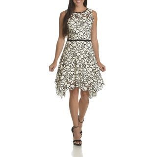 Taylor Women's Black/White Floral Lace Belted Fit-and-Flare Dress