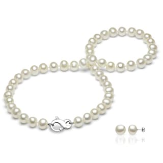 DaVonna Sterling Silver White Round Freshwater Pearl Necklace with Infinity Clasp and Earring Jewelry Set (7-8 mm)