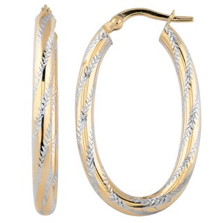 Fremada Italian 14k Two-tone Gold High Polish and Diamond-cut Finish Oval Hoop Earrings