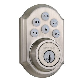 Kwikset 99090-018 Satin Nickel SmartCode Signature Series Single Cylinder D-b