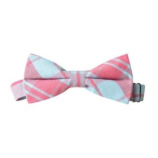Skinny Tie Madness Men's Pink Plaid Pre-Tied Bow Tie