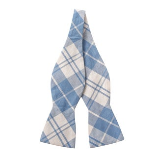 Skinny Tie Madness Men's Blue and White Plaid Bow Tie