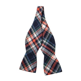 Skinny Tie Madness Men's Multi Color Plaid Bow Tie