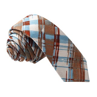 Skinny Tie Madness Men's Multi Color Plaid Skinny Tie