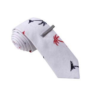 Skinny Tie Madness Men's White Palm Tree Print Tie with Clip