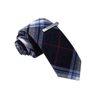 Skinny Tie Madness Men's Blue Cotton Plaid Skinny Tie with Clip
