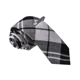 Skinny Tie Madness Men's Black Plaid Skinny Tie with Clip