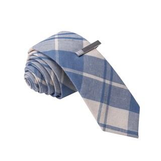 Skinny Tie Madness Men's Blue Plaid Skinny Tie with Clip