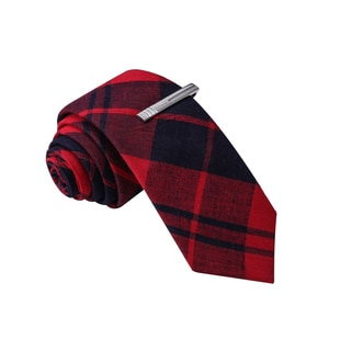 Skinny Tie Madness Men's Red Plaid Skinny Tie with Clip