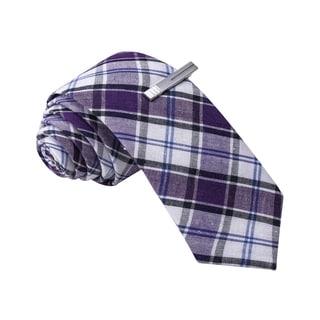 Skinny Tie Madness Men's Purple Plaid Skinny Tie with Clip