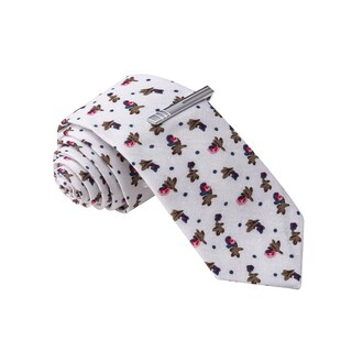 Skinny Tie Madness Men's White Floral Skinny Tie with Clip