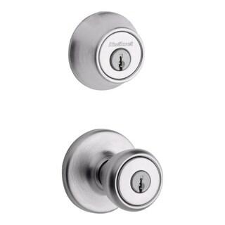 Kwikset 96900-252 Satin Chrome Entry Knob w/ Single Cylinder Deadbolt Pack