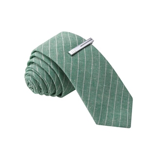 Skinny Tie Madness Men's Green Stripe Skinny Tie with Clip