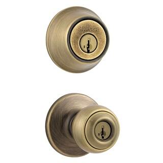 Kwikset 96900-251 Antique Brass 690P5CP K6 Entry Door Knob & Deadbolt Combo
