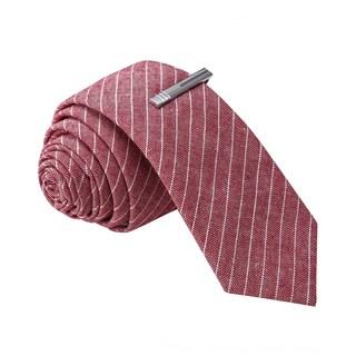 Skinny Tie Madness Men's Red Stripe Skinny Tie with Clip