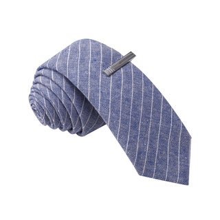 Skinny Tie Madness Men's Blue Stripe Skinny Tie with Clip