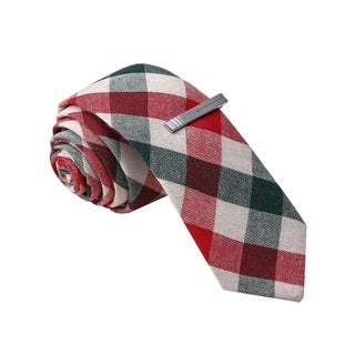 Skinny Tie Madness Men's Red Plaid Tie with Tie Clip