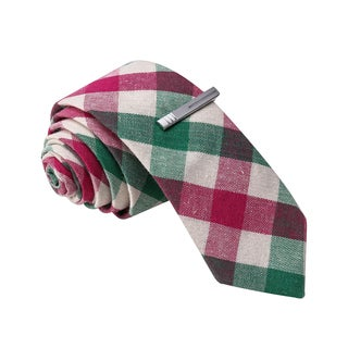 Skinny Tie Madness Men's Green and Pink Plaid Tie with Tie Clip