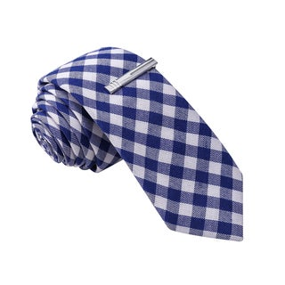 Skinny Tie Madness Men's Blue Gingham Plaid Tie with Tie Clip