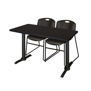 Cain Black Metal/Laminate 42-inch x 24-inch Training Table With 2 Zeng Stacking Chairs