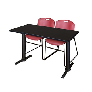 Cain 42-inch x 24-inch Training Table with 2 Burgundy Zeng Stack Chairs