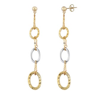 Fremada Italian 14k Two-tone Gold Graduated Ovals Dangle Earrings